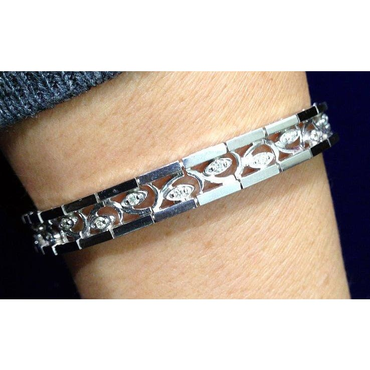 Luxinelle 1/2 Carat Diamond Bracelet With Curved Inlay Eye - 14K White Gold Tennis Bracelet 7.25 Inches - Bracelet