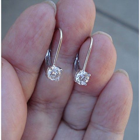 Image of Luxinelle 1/2 Carat Diamond Earrings - Solitaire Leverback Drop 14K (Yellow Gold White Gold And Rose Gold) - Earrings