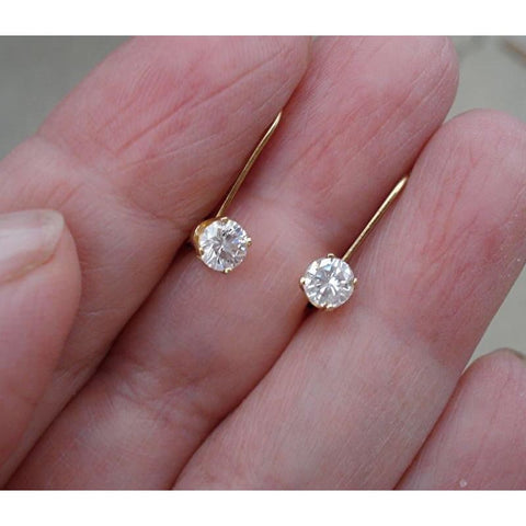 Luxinelle 1/2 Carat Diamond Earrings - Solitaire Leverback Drop 14K (Yellow Gold White Gold And Rose Gold) - Earrings