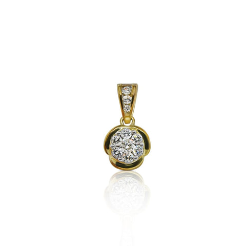 Image of Luxinelle 1/2 Carat Round Diamond Pendant - Flower Design - 14K Yellow Gold Necklace - Necklace