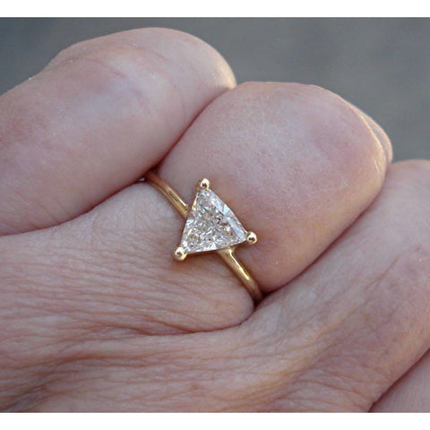 Image of Luxinelle 1/2 Carat Unique Trillion Cut Diamond - 14K Yellow Gold - Minimalist Ring By Luxinelle® Jewelry - Ring