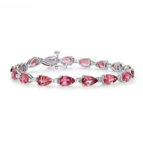 Luxinelle 13.1 Carat Vivid Pink Tourmaline Bracelet - Pear Shaped 7 Inches 14K White Gold - Bracelet
