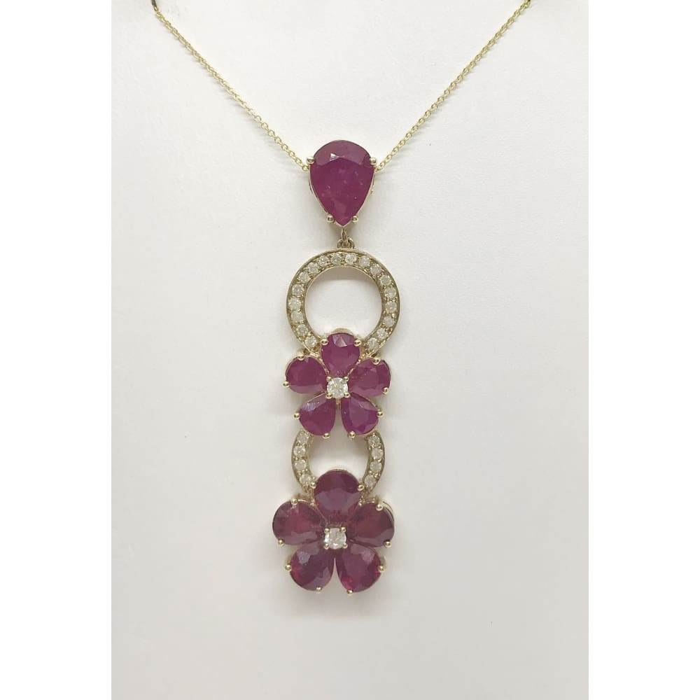 Luxinelle 13.21 Cttw Red Ruby Flower And Diamond Drop Pendant In 14K Yellow Gold With Pear Shaped Rubies - Necklace