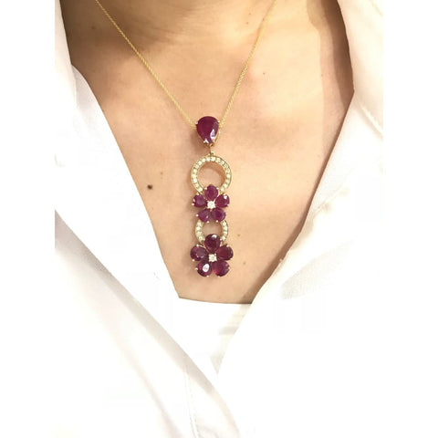 Image of Luxinelle 13.21 Cttw Red Ruby Flower And Diamond Drop Pendant In 14K Yellow Gold With Pear Shaped Rubies - Necklace