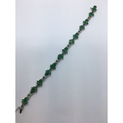 Image of Luxinelle 13.27 Carat Emerald And Diamond 14K White Gold Bracelet - 7 Inches - Bracelet