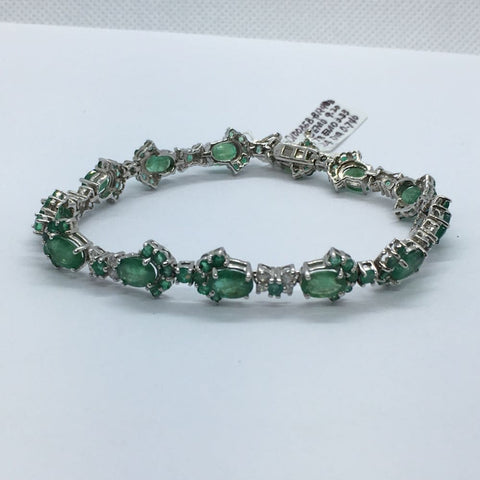 Luxinelle 13.27 Carat Emerald And Diamond 14K White Gold Bracelet - 7 Inches - Bracelet