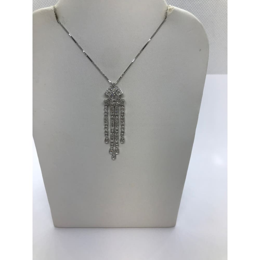 Luxinelle 1/4 Carat Diamond Drop Pendant - 14K White Gold Vintage Elegant Art Deco - Necklace