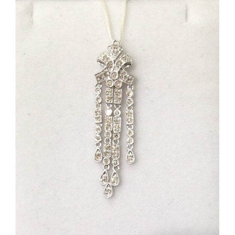 Image of Luxinelle 1/4 Carat Diamond Drop Pendant - 14K White Gold Vintage Elegant Art Deco - Necklace