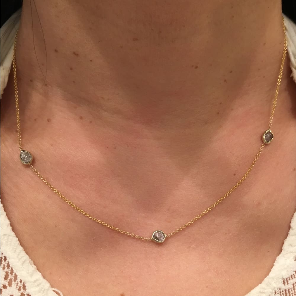 Luxinelle 14K Bezeled Pink Diamonds Necklacd Chain - 1 Tcw Raw Uncut Rough Pink Diamonds - Necklace
