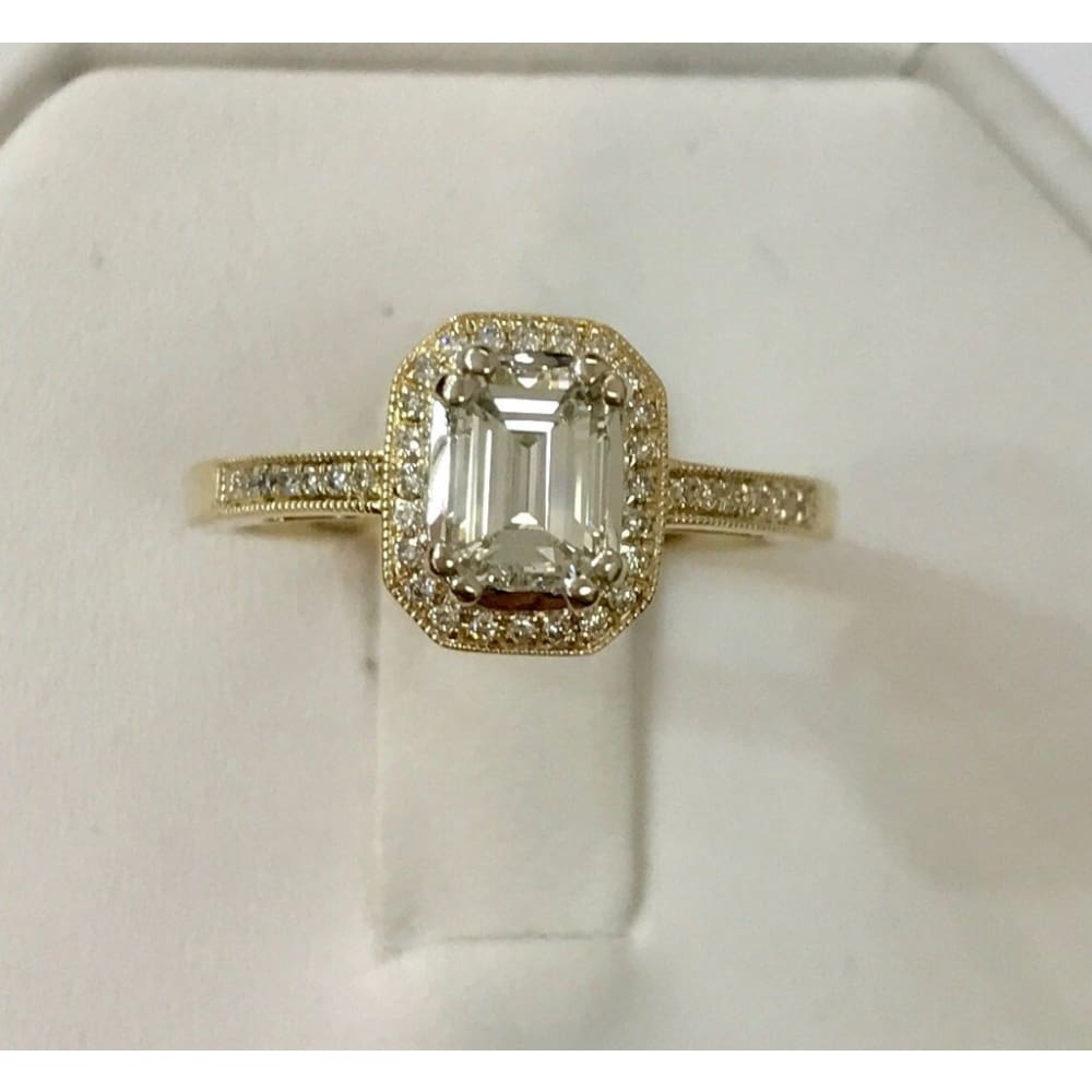 Luxinelle 14K Emerald Cut Diamond Halo Engagement Ring (Yellow Gold) 0.73Tcw By Luxinelle® Jewelry - Ring