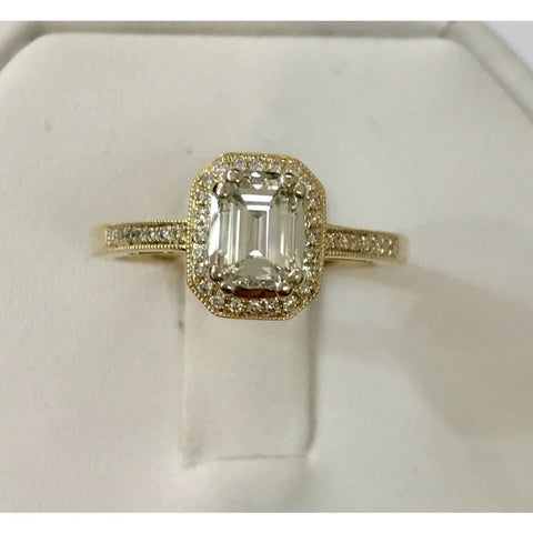 Image of Luxinelle 14K Emerald Cut Diamond Halo Engagement Ring (Yellow Gold) 0.73Tcw By Luxinelle® Jewelry - Ring