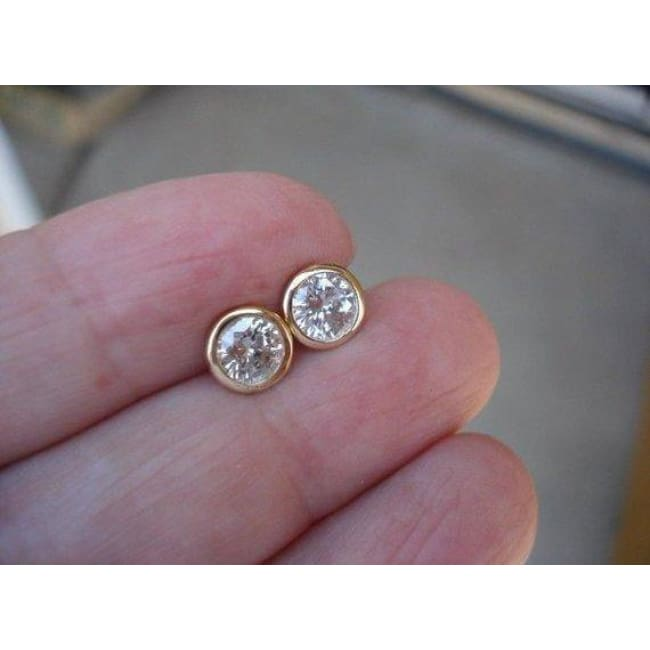 Luxinelle 14K Gold Round Diamond Bezel Earrings - 0.40 Tcw (White Yellow Or Rose Gold) - Ring