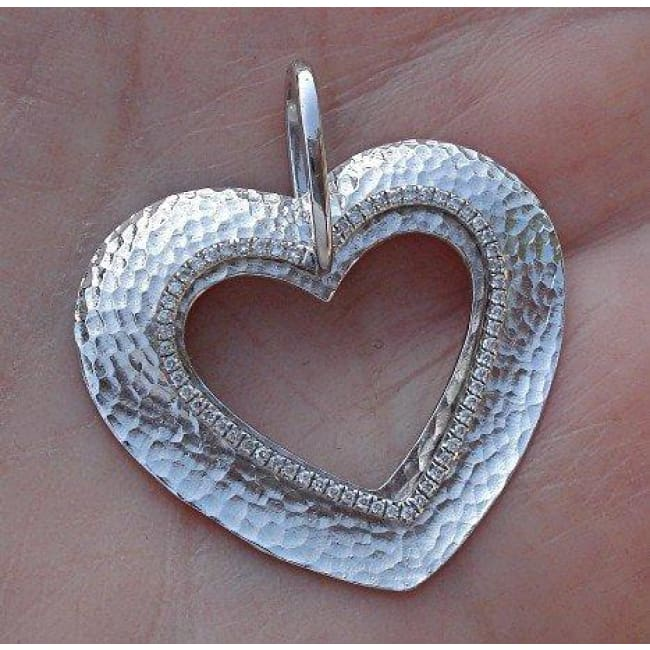 Luxinelle 14K Hammered White Gold Diamond Heart Double Charm Pendant - Necklace