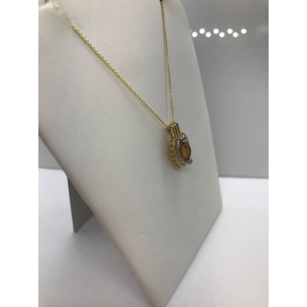 Luxinelle 14K Oval Citrine And Bezel Set Diamonds Pendant - White And Yellow Gold - Necklace