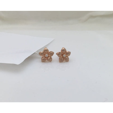 Luxinelle 14K Rose Gold Hawaiian Flower Diamond Jewelry Set - Matching Stud Earrings And Ring By Luxinelle® Jewelry - Ring