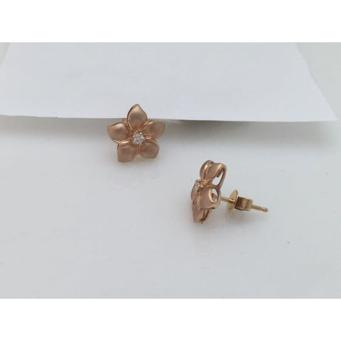 Image of Luxinelle 14K Rose Gold Hawaiian Flower Diamond Jewelry Set - Matching Stud Earrings And Ring By Luxinelle® Jewelry - Ring
