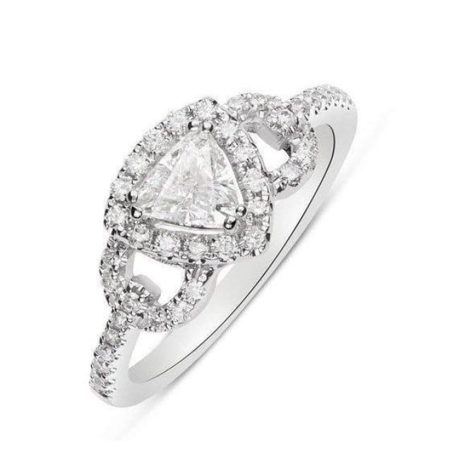 Luxinelle 14K White Gold 0.51 Carat Trillion Cut Diamond Halo Engagement Ring - 0.80 Tcw By Luxinelle® Jewelry - Ring