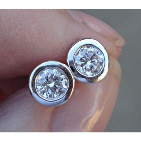 Luxinelle 14K White Gold Diamond Bezel Earrings - 0.50 Carat Eye Clean Si/ G - Earrings