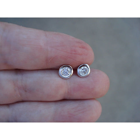 Image of Luxinelle 14K White Gold Diamond Bezel Earrings - 0.50 Carat Eye Clean Si/ G - Earrings
