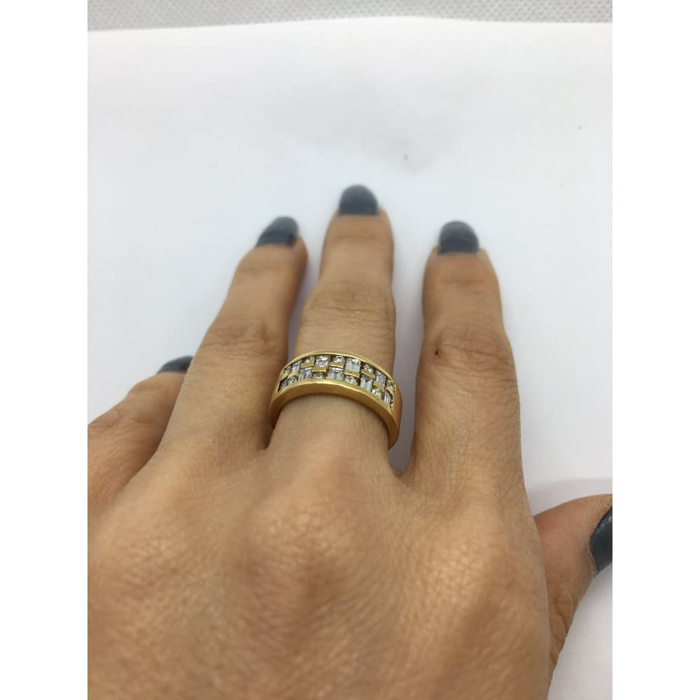 Luxinelle 14K Wide Band Yellow Gold With Baguette And Round Diamonds By Luxinelle® Jewelry - Ring