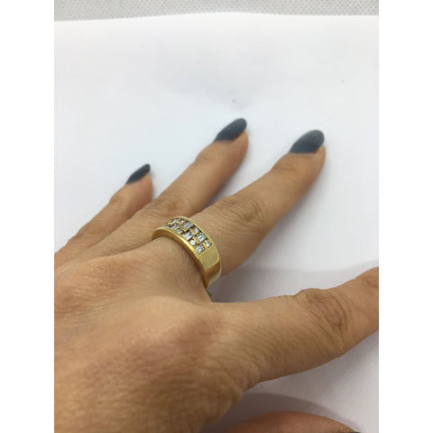 Image of Luxinelle 14K Wide Band Yellow Gold With Baguette And Round Diamonds By Luxinelle® Jewelry - Ring