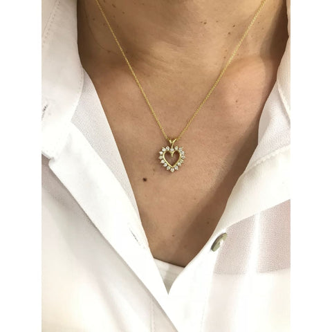 Luxinelle 16 Diamond Heart Shaped Diamond Pendant Setting - 14K Yellow Gold - Necklace