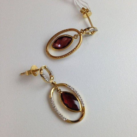 Image of Luxinelle 18K 2.51 Carat Marquise Shape Red Garnet Diamond Drop Earrings - Yellow Gold - Earrings