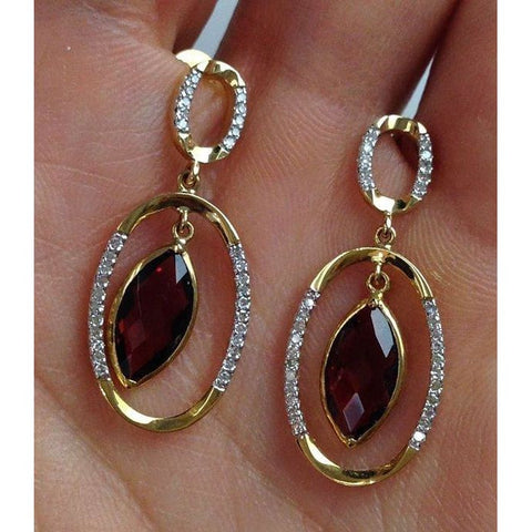 Luxinelle 18K 2.51 Carat Marquise Shape Red Garnet Diamond Drop Earrings - Yellow Gold - Earrings