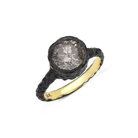 Image of Luxinelle 18K Black Gold Alternative Engagement Ring - 2.25 Ct Gray Salt And Pepper Diamond By Luxinelle® Jewelry - Ring