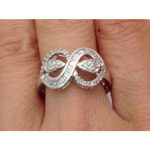 Image of Luxinelle 18K White Gold Baguette Diamond Infinity Ring - Infinity Twist Diamond Ring By Luxinelle® Jewelry - Ring