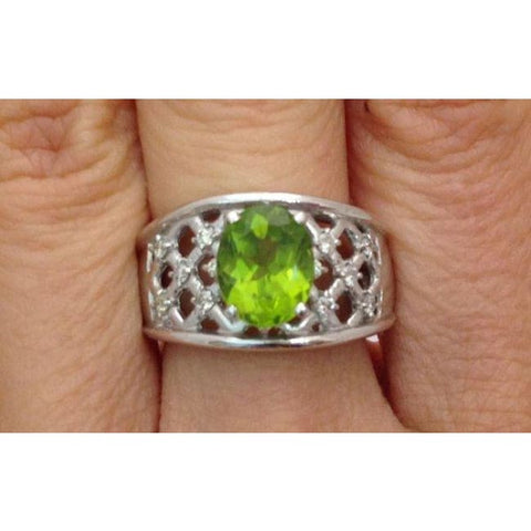Luxinelle 2.10 Carat Peridot Ring With Round Diamonds - 14K White Gold Lattice By Luxinelle® Jewelry - Ring