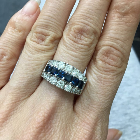 Image of Luxinelle 2.88 Carat Big Blue Sapphire And Diamond Ring In 14K White Gold By Luxinelle® Jewelry - Ring