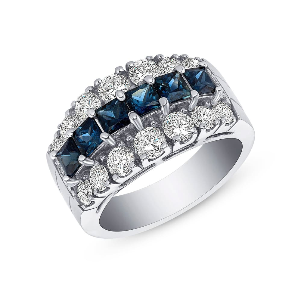 Luxinelle 2.88 Carat Big Blue Sapphire And Diamond Ring In 14K White Gold By Luxinelle® Jewelry - Ring