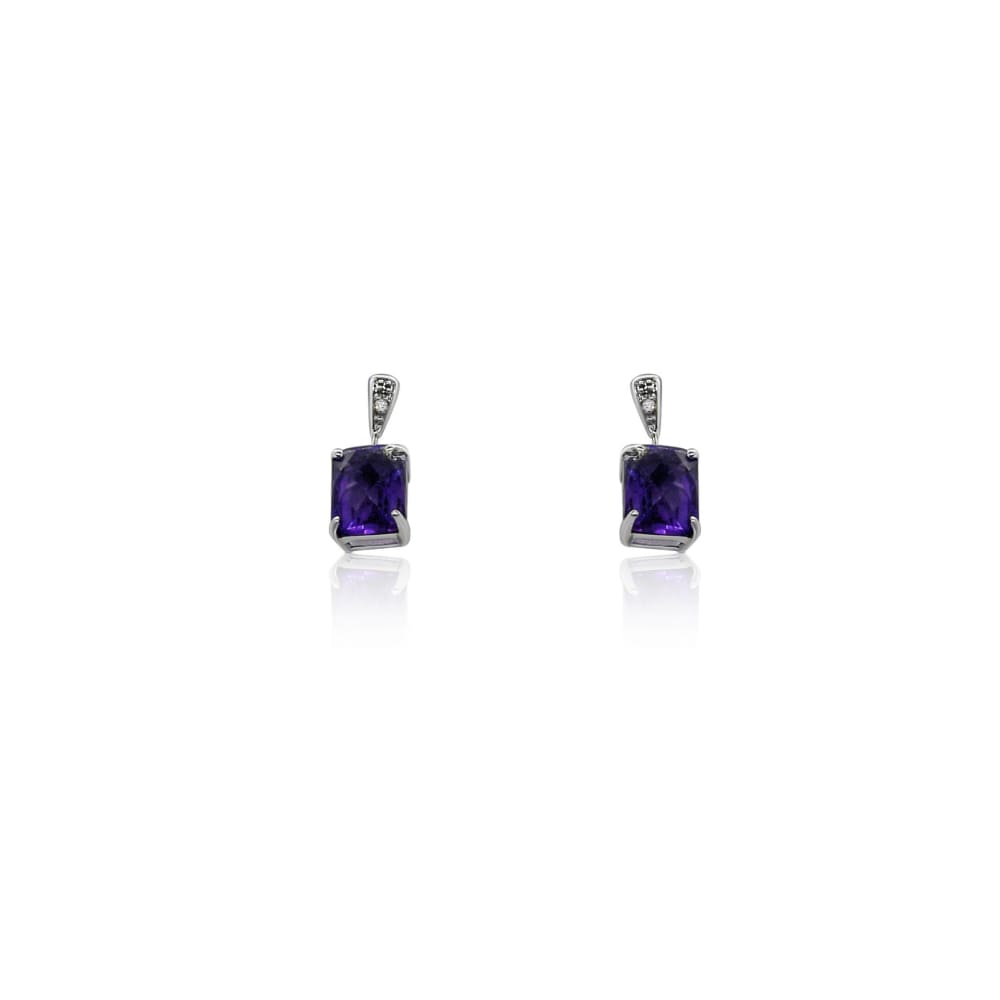 Luxinelle 2.9 Carat Amethyst And Diamond Dangling Drop Earrings In 14K White Gold - Earrings