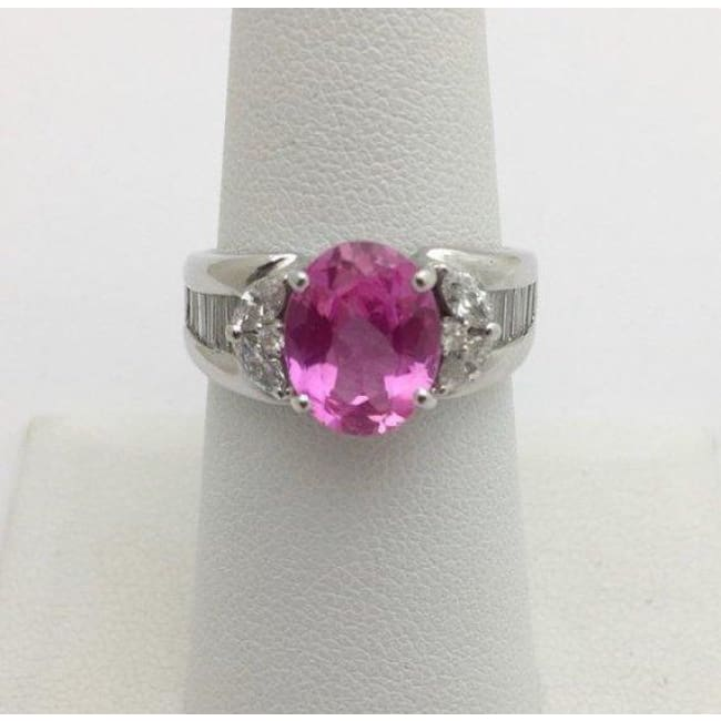 Luxinelle 2.93 Carat Pink Topaz And Diamond Ring 18K White Gold By Luxinelle® Jewelry - Ring