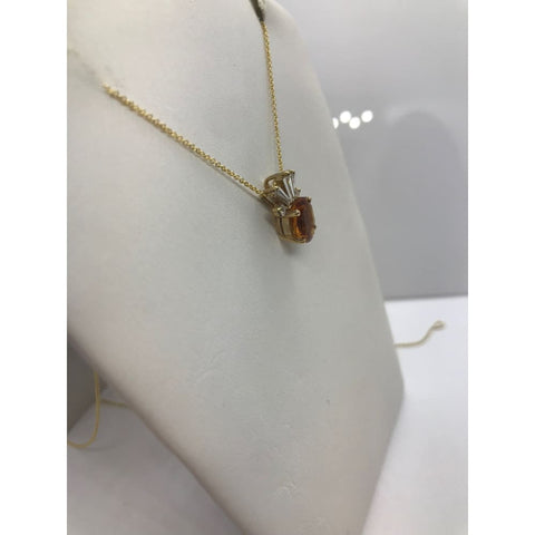 Image of Luxinelle 2 Carat Oval Cut Citrine And Baguette Diamond Pendant In 14K Yellow Gold Pineapple - Necklace