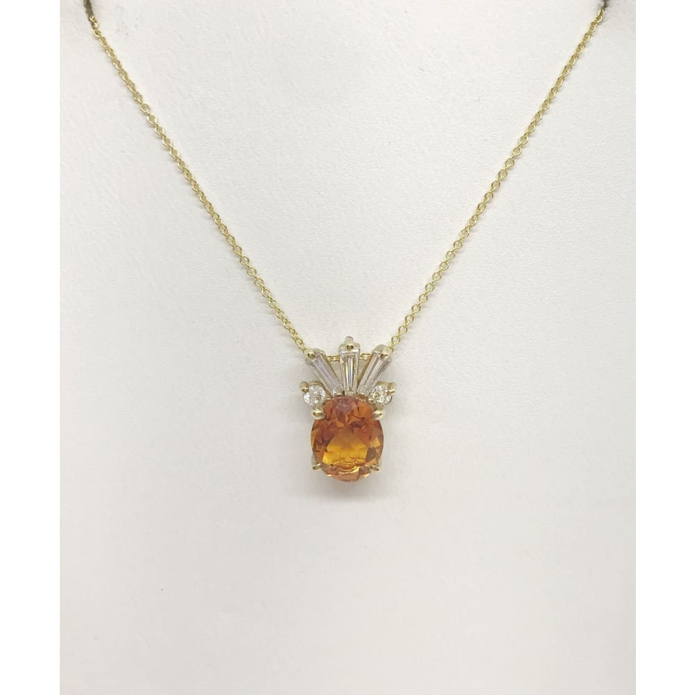 Luxinelle 2 Carat Oval Cut Citrine And Baguette Diamond Pendant In 14K Yellow Gold Pineapple - Necklace