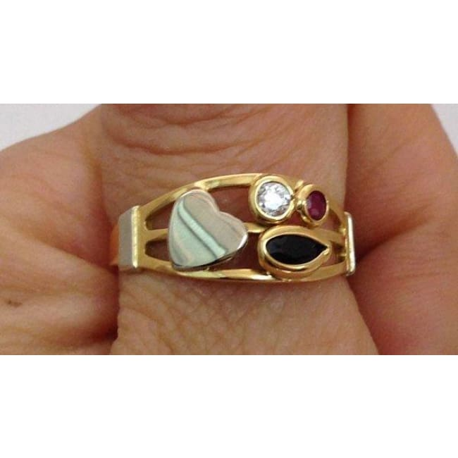 Luxinelle 2 Tone 18K Gold Blue And Pink Sapphire With Diamond Ring By Luxinelle® Jewelry - Ring