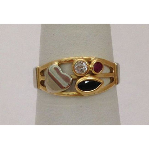 Image of Luxinelle 2 Tone 18K Gold Blue And Pink Sapphire With Diamond Ring By Luxinelle® Jewelry - Ring