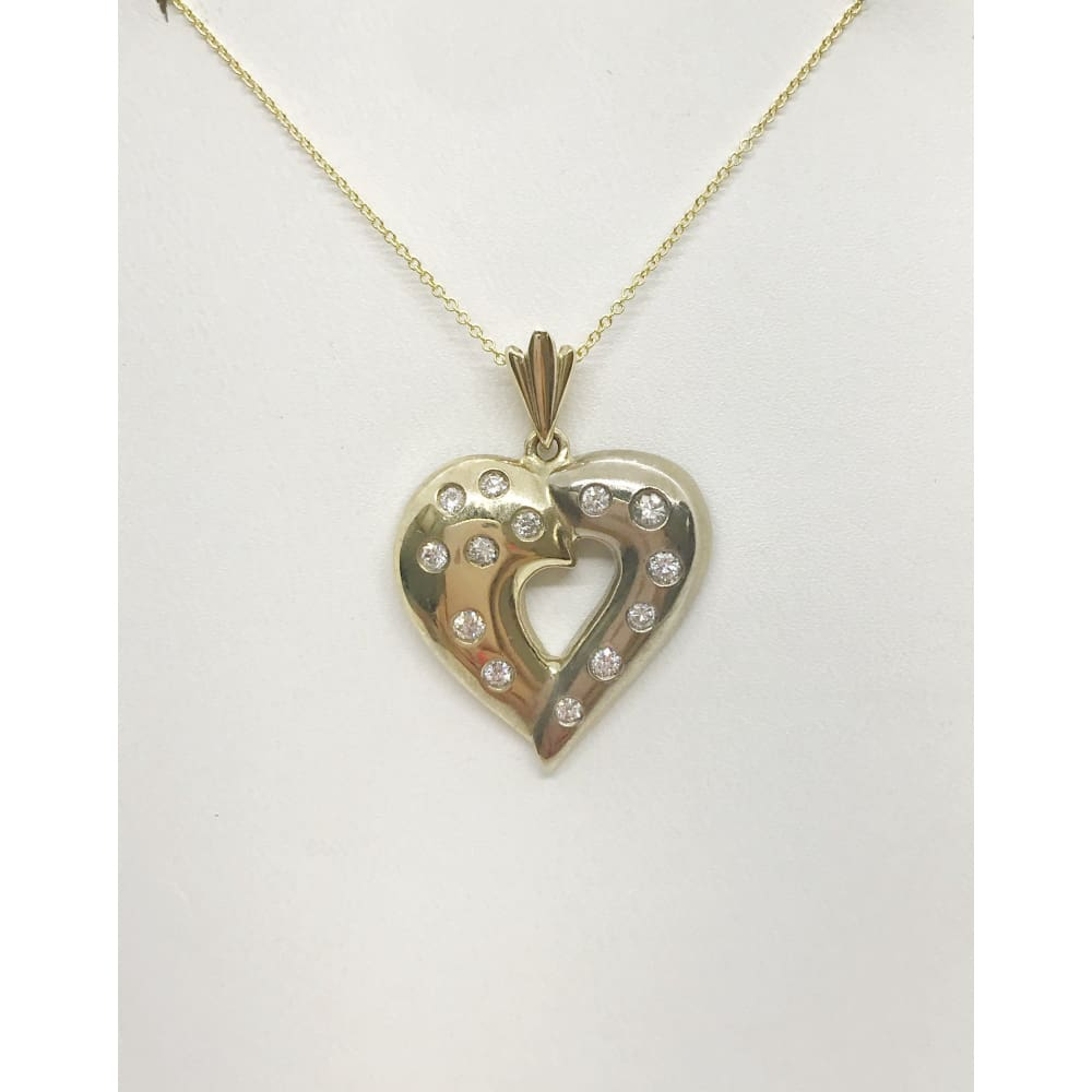 Luxinelle 2 Tone Gold Diamond Heart Pendant Necklace - White And Yellow Gold 14K - Necklace