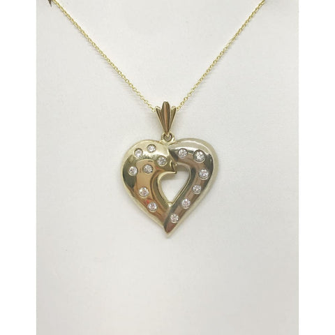 Image of Luxinelle 2 Tone Gold Diamond Heart Pendant Necklace - White And Yellow Gold 14K - Necklace