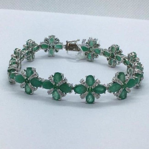 Image of Luxinelle 20 Carat Oval Emerald And Round Diamonds 14K White Gold Bracelet - Flower Floral Motif - Bracelet