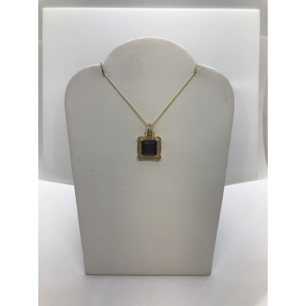 Luxinelle 3.47 Carat Red Garnet And Diamond Pendant In 14K Yellow Gold - Square Princess Cut - Necklace