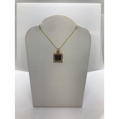Image of Luxinelle 3.47 Carat Red Garnet And Diamond Pendant In 14K Yellow Gold - Square Princess Cut - Necklace