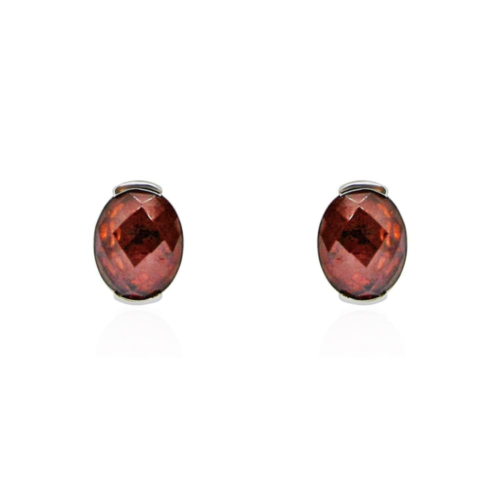 Luxinelle 3.59 Carat Red Oval Garnet Checkerboard Stud Earrings In 14K White Gold - Earrings
