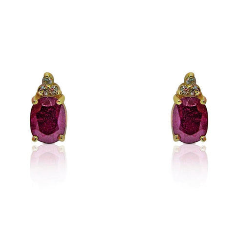 Luxinelle 3.83 Carat Red Ruby Earrings With 3 Diamond Crown Stud Earrings In 14K Yellow Gold - Earrings