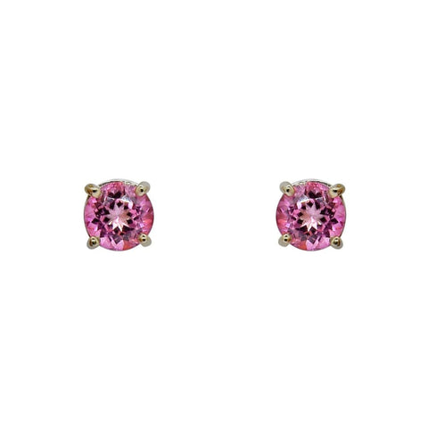 Luxinelle 3.86 Carat Pink Topaz Stud Earrings In 4 Prong 14K White Gold - Earrings