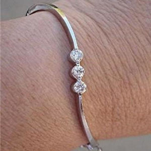 Luxinelle 3 Bezel Set White Diamonds Bracelet Bangle - 14K White Gold - Bracelet
