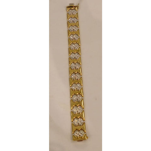 Image of Luxinelle 3 Carat Diamond 2 Tone Gold Bracelet - 14K - 2 Tone Diamond Bracelet - Bracelet