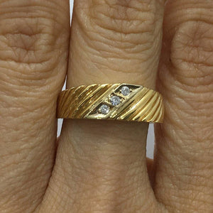 Luxinelle 3 Diamond Yellow Gold Statement Ring 14K By Luxinelle® Jewelry - Ring